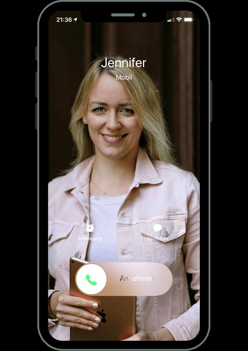 Smartphone eingehender Anruf von Jennifer